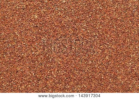 Organic Mahogany or Red Eucalyptus (Eucalyptus globulus) seeds. Macro closeup background texture. Top View.