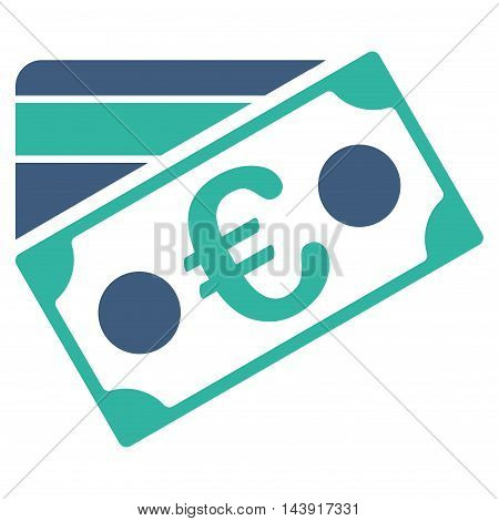 Euro Banknote and Credit Card icon. Vector style is bicolor flat iconic symbol with rounded angles, cobalt and cyan colors, white background.