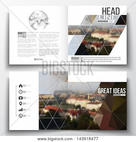 Set of annual report business templates for brochure, magazine, flyer or booklet. Polygonal background, blurred image, urban landscape, cityscape of Prague, modern triangular texture.