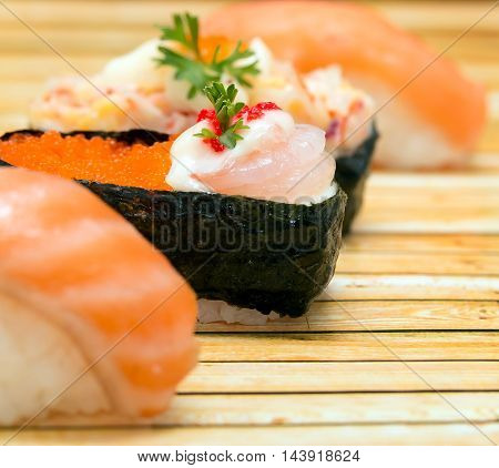 Japanese Salmon Sushi Shows Asian Food And Cuisine