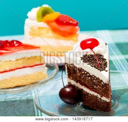 Black Forest Gateau Indicates Chocolate Cake And Cafe