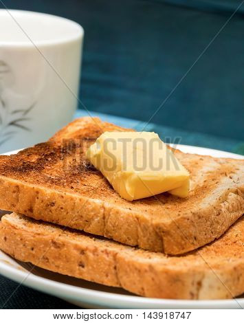 Butter Toast Slices Means Black Coffee And Bread