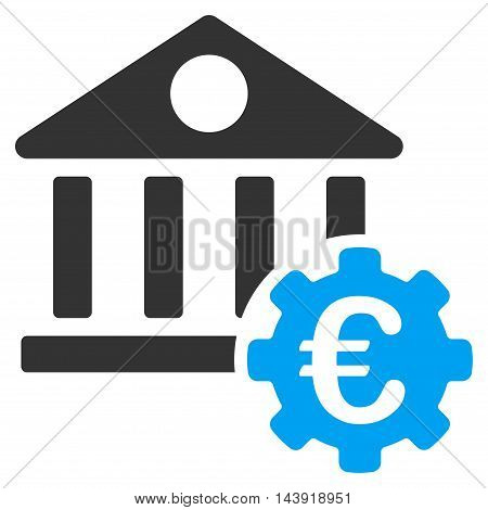 Euro Bank Building Options icon. Glyph style is bicolor flat iconic symbol, blue and gray colors, white background.