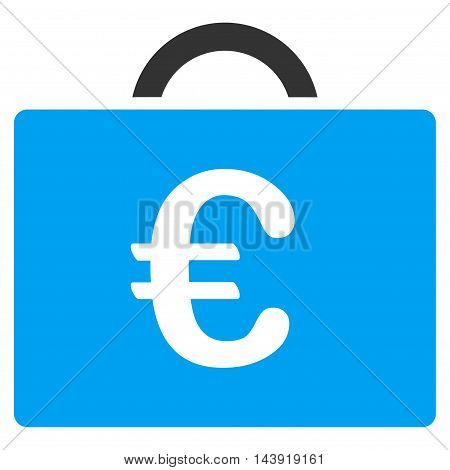 Euro Bookkeeping Case icon. Glyph style is bicolor flat iconic symbol, blue and gray colors, white background.