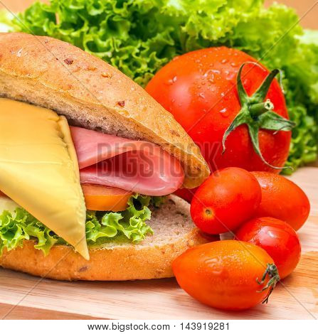 Sandwich Ham Cheese Means Bread Roll And Freshness