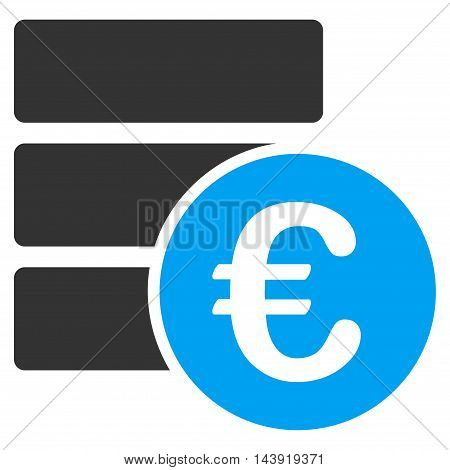 Euro Database icon. Glyph style is bicolor flat iconic symbol, blue and gray colors, white background.