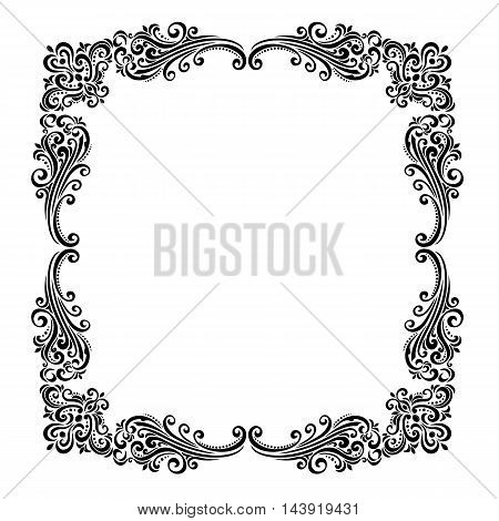 Vintage baroque frame scroll ornament engraving border floral retro pattern antique style acanthus foliage swirl decorative design element filigree calligraphy