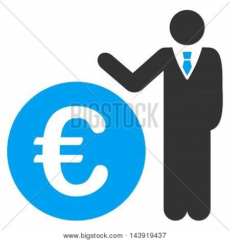 Euro Economist icon. Glyph style is bicolor flat iconic symbol, blue and gray colors, white background.