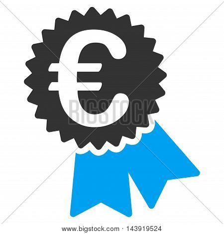 Euro Featured Price Tag icon. Glyph style is bicolor flat iconic symbol, blue and gray colors, white background.