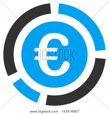 Euro Financial Diagram icon. Glyph style is bicolor flat iconic symbol, blue and gray colors, white background.