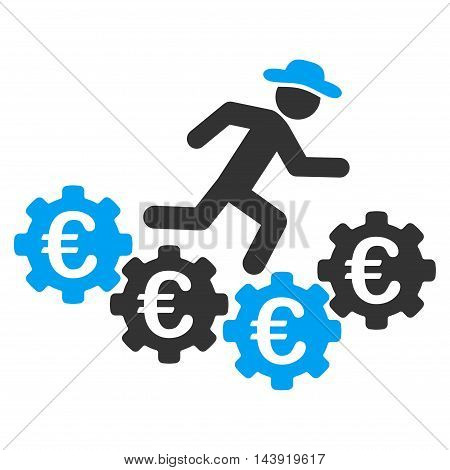 Euro Gears Runner icon. Glyph style is bicolor flat iconic symbol, blue and gray colors, white background.