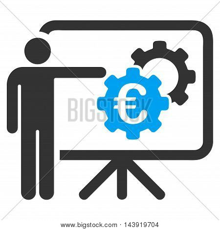 Euro Industrial Project Presentation icon. Glyph style is bicolor flat iconic symbol, blue and gray colors, white background.