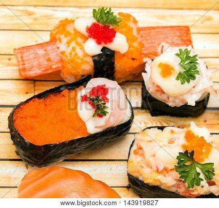 Sushi Dish Means Asian Food And Oriental
