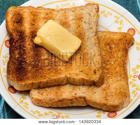 Butter Toast Slices Shows Meal Time And Beverages