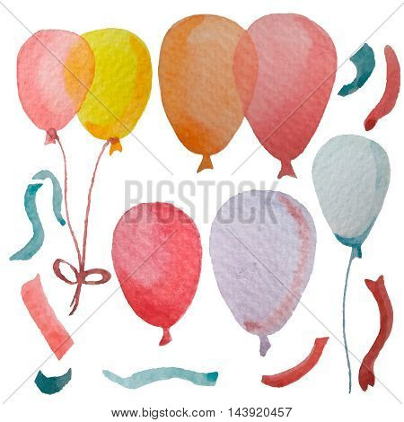 Hand drawn celebration objects: air balloons, ribbons. Watercolor painting.