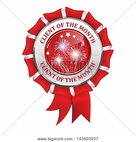 Client of the month shiny award ribbon with fireworks, for retail business.