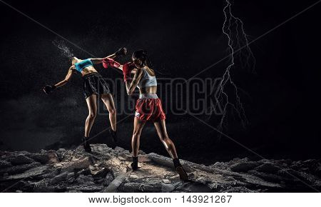 Girls boxing outdoor . Mixed media
