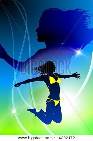 Sexy Woman Celebration with Light Streak  Original Vector Illustration