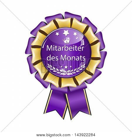 Employee of the month (Mitarbeiter des Monats - German language) - award ribbon