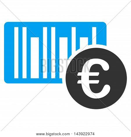 Euro Bar Code Price icon. Vector style is bicolor flat iconic symbol, blue and gray colors, white background.
