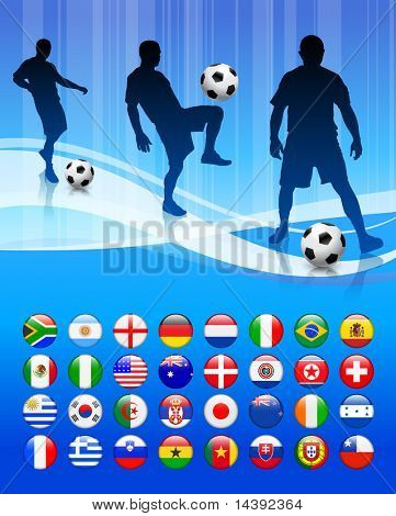 Soccer Team on Abstract Blue Background Original Vector Illustration