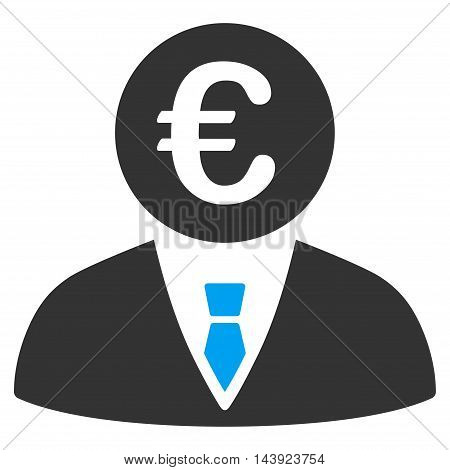 Euro Clerk icon. Vector style is bicolor flat iconic symbol, blue and gray colors, white background.