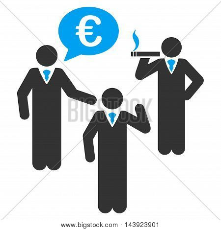 Euro Discuss People icon. Vector style is bicolor flat iconic symbol, blue and gray colors, white background.