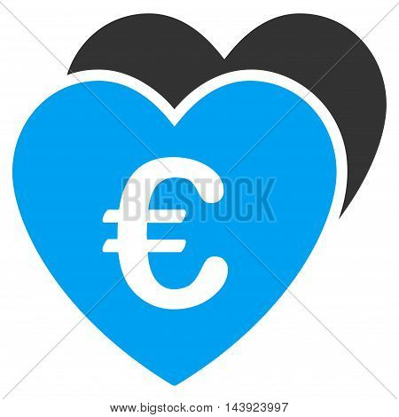 Euro Favorites Hearts icon. Vector style is bicolor flat iconic symbol, blue and gray colors, white background.