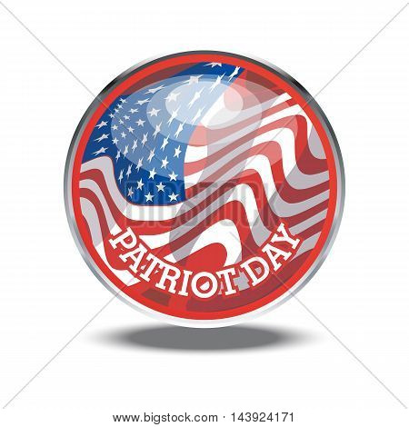 Patriot day card with the flag of unites states of america in a silver circle. Digital vector image