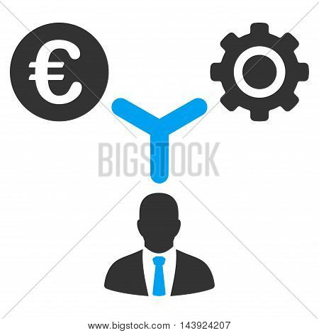 Euro Financial Development icon. Vector style is bicolor flat iconic symbol, blue and gray colors, white background.