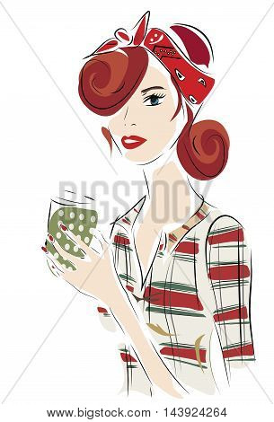Illustration of a Fashion Woman with a Big Cardboard Cup