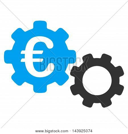 Euro Mechanics icon. Vector style is bicolor flat iconic symbol, blue and gray colors, white background.