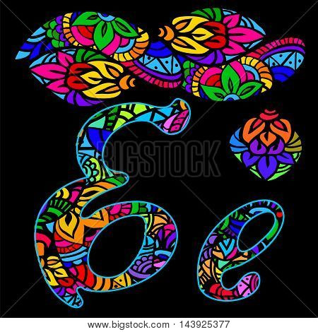 vector capital and small letters A with abstract ethnic patterns. Rich ornate alphabet in orient style. Fancy multicolored letter with a decorative pattern can be used for printing on fabric card