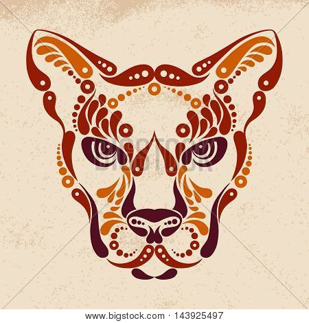Puma tattoo, color symbol decoration vector illustration