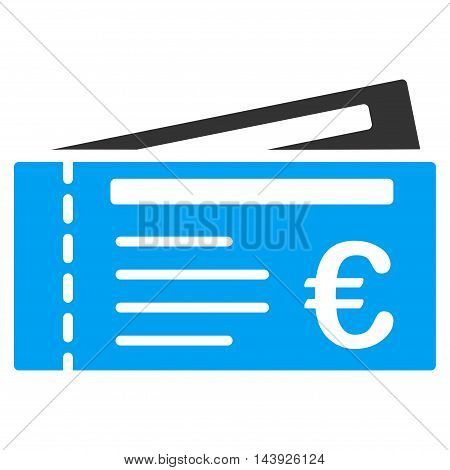 Euro Tickets icon. Vector style is bicolor flat iconic symbol, blue and gray colors, white background.