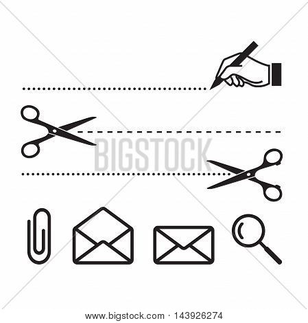 Vector scissors cut lines and icons for notebook, form or worksheet. Search, cut, write, letters and clip