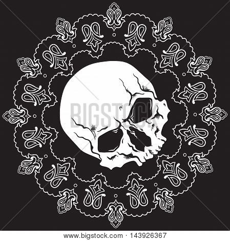 Bandana black and white design with skull and paisley ornament. Vector illustration