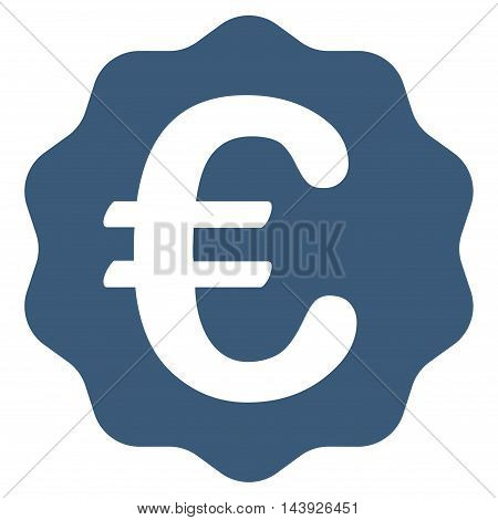 Euro Reward Seal icon. Vector style is flat iconic symbol, blue color, white background.