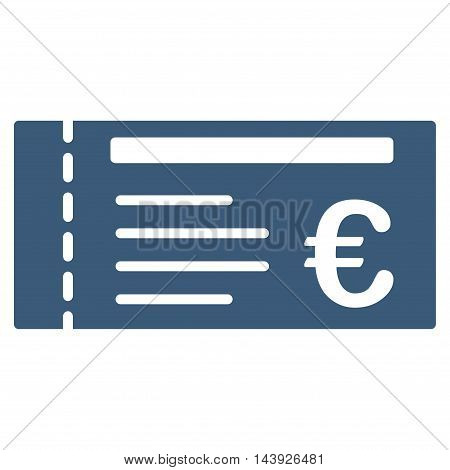 Euro Ticket icon. Vector style is flat iconic symbol, blue color, white background.
