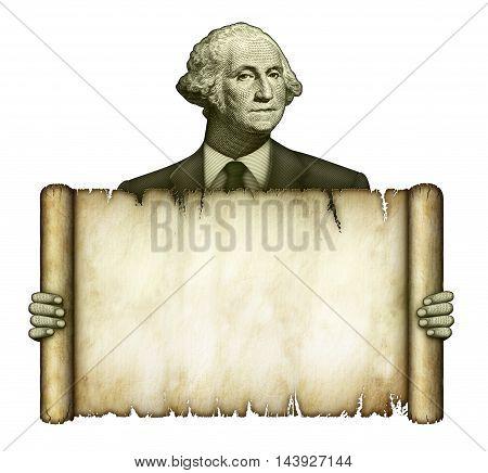 Blank Scroll Held By George Washington