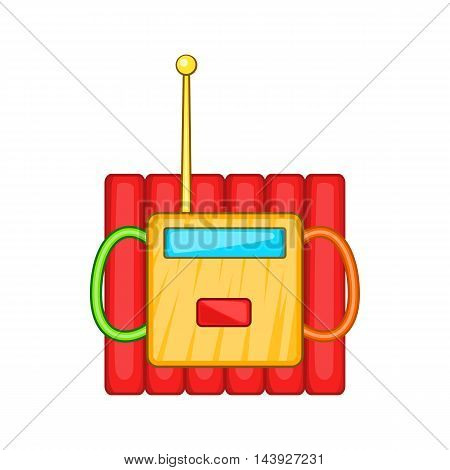 Dynamite explosives icon in cartoon style isolated on white background. Explosion symbol