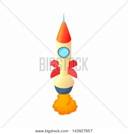 Rocket takes off icon in cartoon style isolated on white background. Aircraft symbol