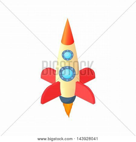 Space rocket icon in cartoon style isolated on white background. Aircraft symbol