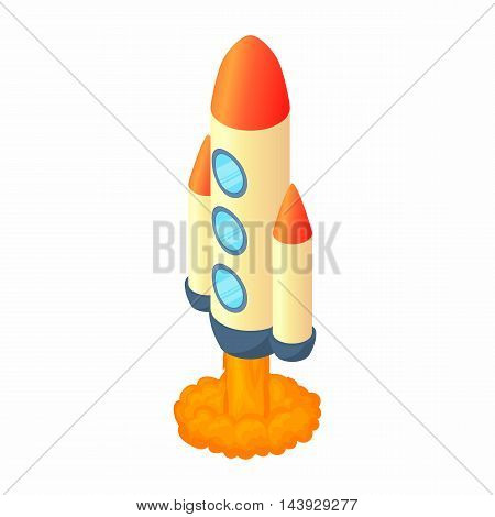 Rocket with three portholes icon in cartoon style isolated on white background. Aircraft symbol