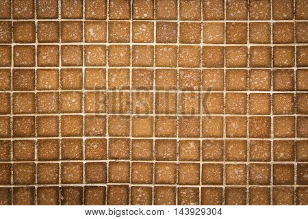 Brown mosaic wall texture and background for design pattern artwork.