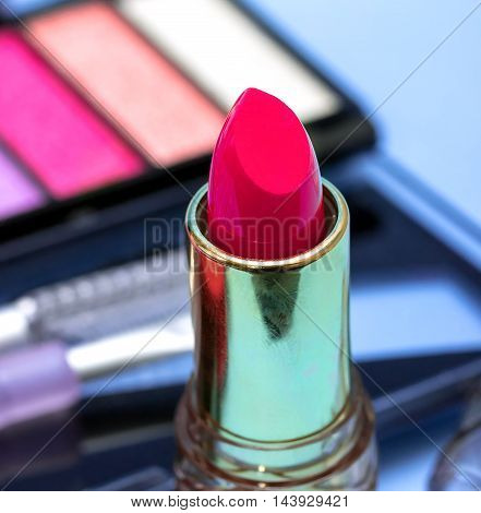 Makeup Pink Lipstick Shows Beauty Products And Face