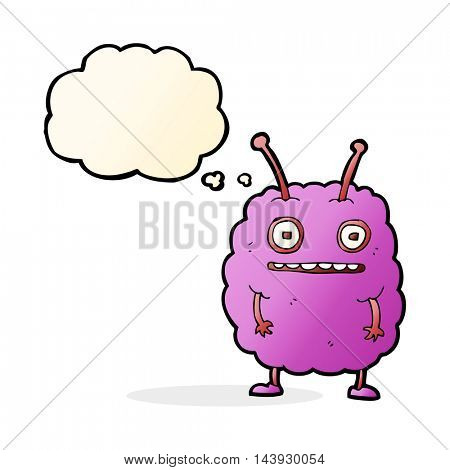 cartoon funny alien monster with thought bubble
