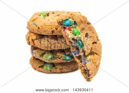 cookies with chocolate colored drops on a white background