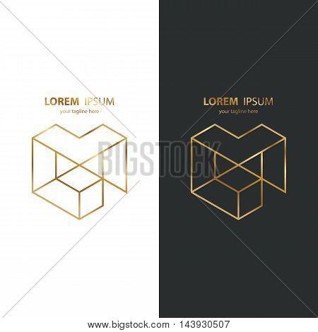Letter M golden line design logo icon. Gold color. Vector illustration.