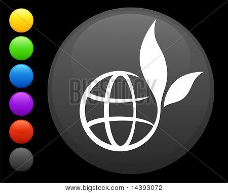 globe icon on round internet button original vector illustration 6 color versions included